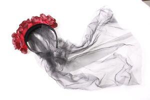 Ladies Halloween Dark Red Flower Crown Headband with Black Long Veil New (S577)