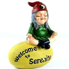 Brashfords welcome Garden Gnome Statue Figurine - Zen Yoga Gnome Sculpture