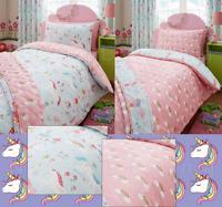 Magical Unicorns Fairies Rainbow Girls Pink Single Duvet Cover Quilt Bedding Set
