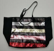 Victorias Secret 2017 Black Canvas Tote Bag Striped Bling Sequins EUC Pre-owned