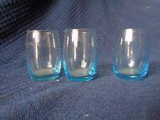 lot de 3 petit verres ancien verre bulle bleu  aperitif digestif vintage bistrot