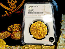 PERU 1708 FINEST KNOWN 8 ESCUDOS NGC 63 1715 FLEET SHIPWRECK PIRATE GOLD COINS