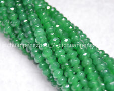 """Natural Faceted 4x6mm Emerald Gemstone Abacus Rondelle Loose Beads 15"""""""