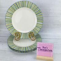 B Smith W Style PTS International SOHO BLUE Porcelain Stripe Dinner Plates Set 4
