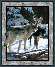 "Winter Silver Wolf Snow Wild Wings Cotton Fabric CP66446 35""X44"" Wall Panel"