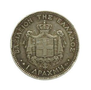Greece 1870 George I Silver 1 Drachma Coin #19