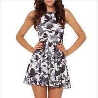 Women pleated Dress Black Crow Printed dress Sleeveless dress Mini Dress