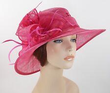 New Woman Kentucky Church Derby Wedding Sinamay Ascot Dress Hat 2943 Hot Pink