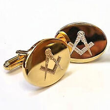 Engraved Gold Plated Masonic Compass and Square Cufflinks