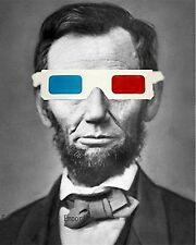 Abraham Lincoln Art Print 8 x 10 - 3D Glasses - Surreal - Retro - Victorian