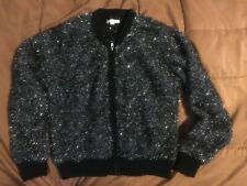 Girl's Kids Rockets of Awesome Silver Black Metallic Fuzzy Zip up Jacket Size 10