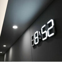 Modern Digital 3D LED Wall Clock Alarm Clock Snooze 12/24 Hour Display USB CHZ