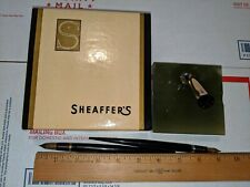 SHEAFFER'S MARBLE DESK SET WITH 2 FOUNTAIN PENS 14K & 14K LIFETIME PATENT NIBS