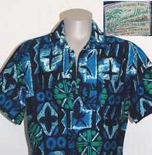 vtg 60s Diamond Head Hawaiian shirt L tapa print blue aloha pullover mens green