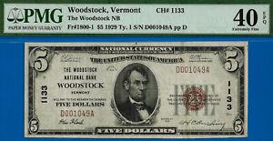 TOP POP 1/0 CH # 1133 - 1929 $5 (( FINES Known - Woodstock, VT )) PMG 40EPQ