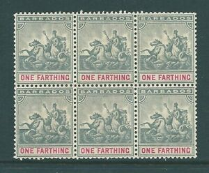 BARBADOS 1896 BLOCK of 6 SG105 Mint no Gum