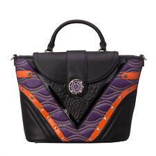 VERSACE JEANS E1VOBBK1 Studded Embroidered Zipped Top Handle Large Satchel Bag