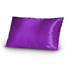 Pair of Satin Lingerie Pillowcases King Size Purple New