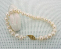 natural 7-6mm akoya White Pearl Bracelet 7.5-8' 14k Clasp