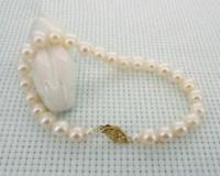 natural 7-6mm akoya White Pearl Bracelet 7.5-8' 14k Clasp