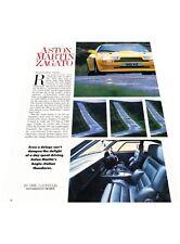 1988 Aston Martin Zagato - Original Car Review Print Article J398