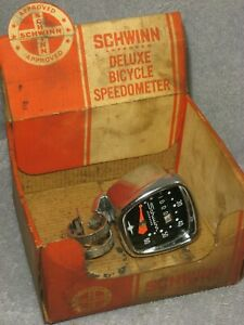 VINTAGE SCHWINN APPROVED CHROME BIKE SPEEDOMETER HEAD HURET BICYCLE SPEEDO