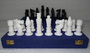 "3"" King Size Black & White Marble Chess Pieces Handmade Art Gifts"