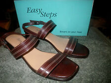 Easy Steps 11C Brown Cognac Jargon Softee Patent Leather Ankle Strap Sandals