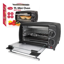 800W 9L MINI ELECTRIC OVEN GRILL TOASTER BLACK COUNTER TABLE TOP COMPACT CARAVAN