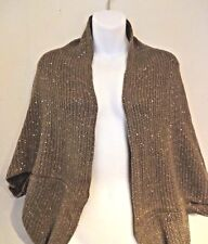 Shrug cape beige ribbed knit acrylic bulky scarf sequin shimmer