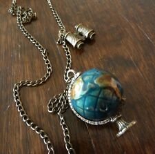 Kitsch Vintage Style Gold Tone Spinning World Desk Globe Earth Map Necklace
