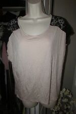 Forever 21 XXI Size Large Pink & Black short sleeve lace blouse top great look