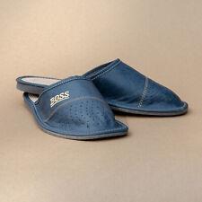 Mens Natural Leather Slippers Shoes Sandals BOSS Blue Kapcie UK 7 - UK 12