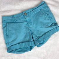 Aeropostale Women's Teal Blue Midi Twill Cuffed Hem Short Shorts Size 00