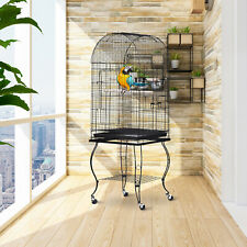 More details for pawhut 1.4m bird cage parrot finch macaw conure pet supply play top stand perch
