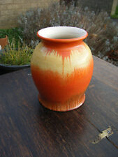 Vintage Fabulous Art Deco 'Sundown' Hand Painted Drip Art Vase  - England