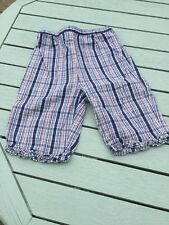 Girls Blue Checked Cropped Trousers Age 18-24 Months From Gymboree