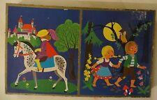 Boites 4 puzzles bois, Hansel Gretel, Chèvres 7 chevreaux - Cavahel Vintage