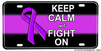 Purple Ribbon Domestic Violence Keep Calm & Fight On License plate
