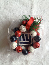 NY NEW YORK GIANTS  BLUE RED WREATH BELL CHRISTMAS TREE ORNAMENT