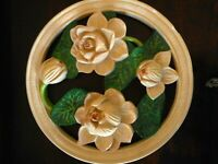 "Magnolia Flower Chalkware Wall Decor Heavy Vintage Round Farmhouse apx 16"" diam"