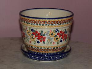 Polish Pottery Large Flower Pot with Saucer! UNIKAT Signature Rembrandt!