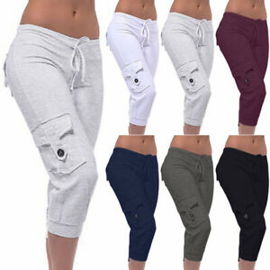 Womens 3/4 Length Trousers Stretch Sport Button Pocket Three Quarter Capri Pants