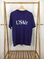 VTG 90s Hanes 50/50 USAir Thin Plum Single Stitch Short Sleeve T-Shirt XL USA
