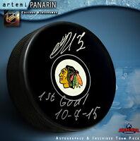 "Artemi Panarin Autographed Chicago Black Hawks Puck    ""1st. Goal 10/7/15"""