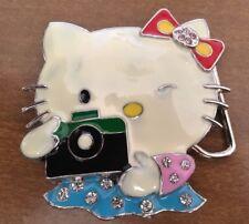Hello Kitty Belt Buckle Camera Rhinestone Enameled Winking