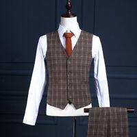 Mens Brown Slim Fit Tweed Business Waistcoat Wedding Waistcoat Casual Vest
