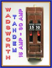 WADSWORTH CIRCUIT BREAKER, TANDEM, 15AMP & 30AMP, NEW / ORIGINAL, OLD-INVENTORY