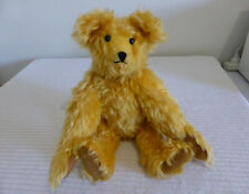 """Antique / vintage 13.75"""" jointed yellow MOHAIR TEDDY BEAR plush toy LONG ARMS"""