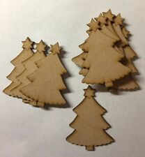 10x Trees -Wooden Mdf Christmas Tree Decoration Craft Blank 8 Cm